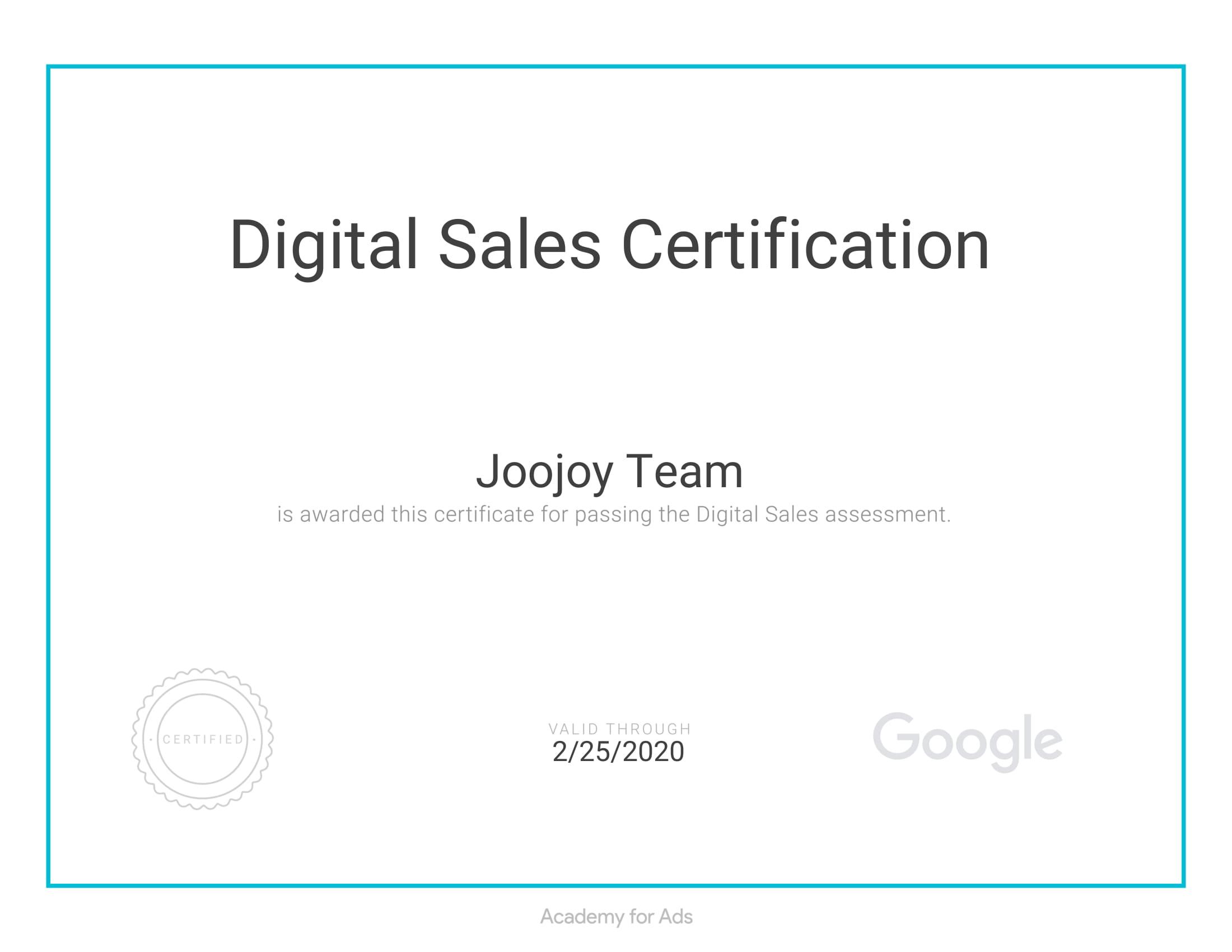 Digital Sales certificate