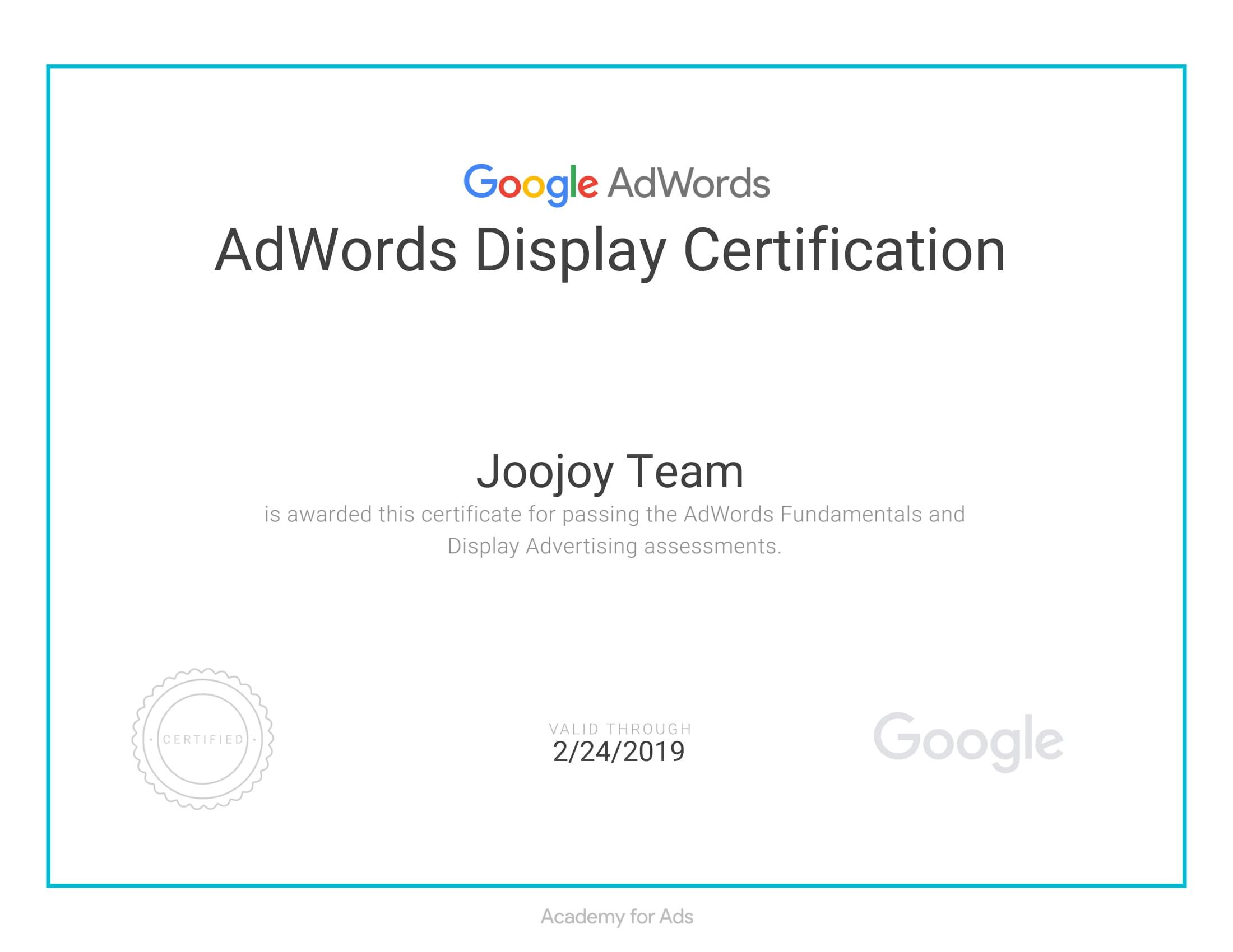 display certificate
